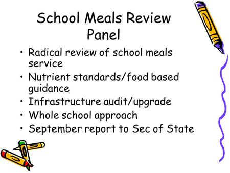 School Meals Review Panel Radical review of school meals service Nutrient standards/food based guidance Infrastructure audit/upgrade Whole school approach.