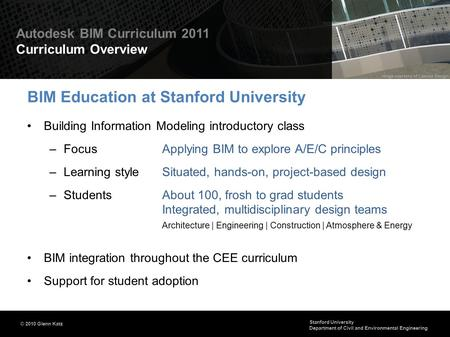 BIM Education at Stanford University