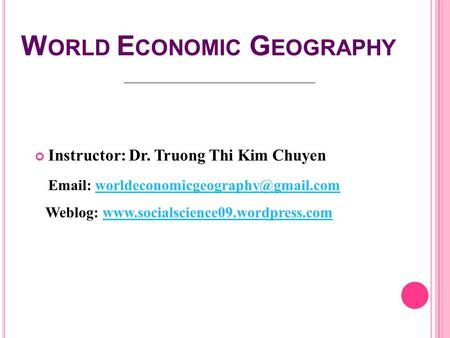 World Economic Geography