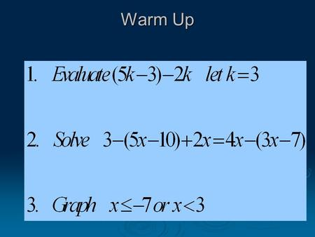 Warm Up. Objective: 1. Identify Domain and Range 2. Know and use the Cartesian Plane 3. Graph equations using a chart 4. Determine if a Relation is a.