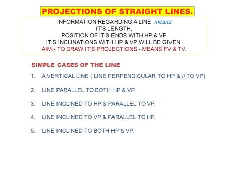 SIMPLE CASES OF THE LINE 1.A VERTICAL LINE ( PERPENDICULAR TO HP & // TO VP) 2.LINE PARALLEL TO BOTH HP & VP. 3.LINE INCLINED TO HP & PARALLEL TO VP. 4.LINE.