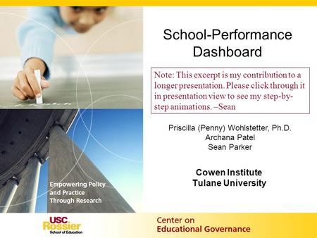 School-Performance Dashboard Cowen Institute Tulane University Priscilla (Penny) Wohlstetter, Ph.D. Archana Patel Sean Parker Note: This excerpt is my.
