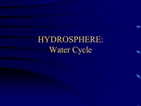 HYDROSPHERE: Water Cycle. Follow a drip through the water cycle You may be familiar with how water is always cycling around, through, and above the.