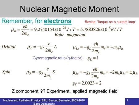 Nuclear and Radiation Physics, BAU, Second Semester, 2009-2010 (Saed Dababneh). 1 Nuclear Magnetic Moment Remember, for electrons Revise: Torque on a current.