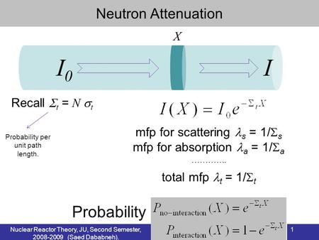 Nuclear Reactor Theory, JU, Second Semester, 2008-2009 (Saed Dababneh). 1 Neutron Attenuation Recall t = N t Probability per unit path length. X I0I0 I.
