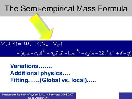 Nuclear and Radiation Physics, BAU, 1 st Semester, 2006-2007 (Saed Dababneh). 1 The Semi-empirical Mass FormulaVariations……. Additional physics…. Fitting……(Global.