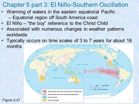 Chapter 5 part 3: El Niño-Southern Oscillation Warming of waters in the eastern equatorial Pacific –Equatorial region off South America coast El Niño –
