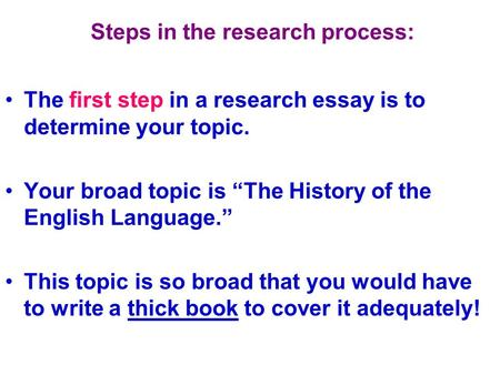 Steps in the research process: The first step in a research essay is to determine your topic. Your broad topic is The History of the English Language.