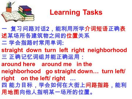 Learning Tasks 2 : straight down turn left right neighborhood around here around me in the neighborhood go straight down… turn left/ right on the left/
