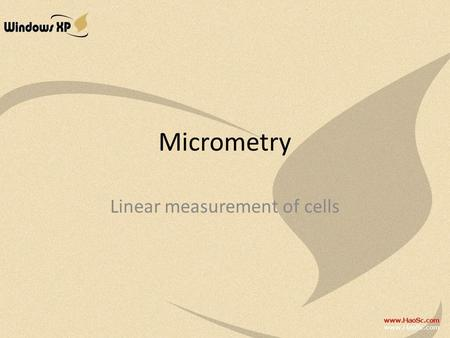 Micrometry Linear measurement of cells. Units of measurement in cell study Millimeter (mm) – 1mm=0.001m Micrometer (μm) – 1μm=0.001mm=0.000 001m Nanometer.