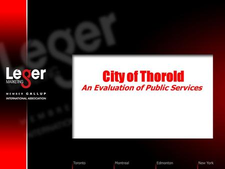 City of Thorold An Evaluation of Public Services.