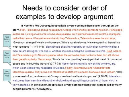 Needs to consider order of examples to develop argument In Homers The Odyssey, hospitality is a very common theme seen throughout the story. First, Telemachus.