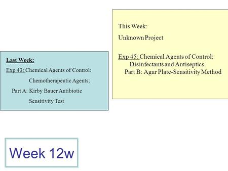 Week 12w This Week: Unknown Project
