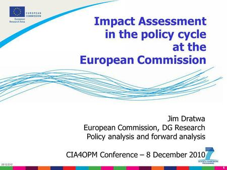 1 08/12/2010 Jim Dratwa European Commission, DG Research Policy analysis and forward analysis CIA4OPM Conference – 8 December 2010 Impact Assessment in.