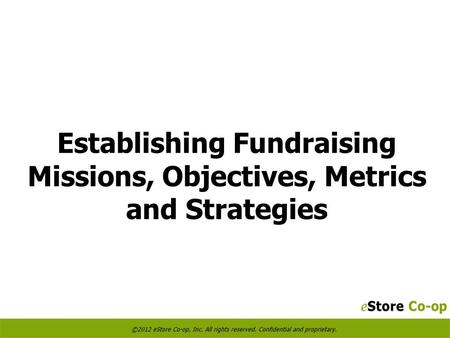 Establishing Fundraising Missions, Objectives, Metrics and Strategies.