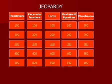 100 200 300 400 500 Translations Piece-wise Functions Factor Real-World Equations Miscellaneous JEOPARDY.
