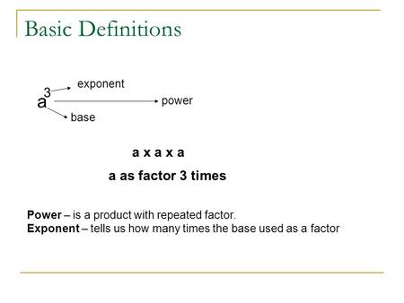 Basic Definitions a 3 a x a x a a as factor 3 times exponent power