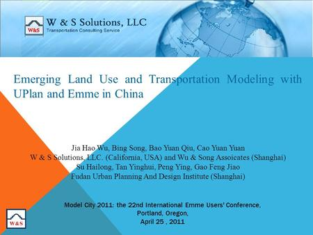 Jia Hao Wu, Bing Song, Bao Yuan Qiu, Cao Yuan Yuan W & S Solutions, LLC. (California, USA) and Wu & Song Assoicates (Shanghai) Su Hailong, Tan Yinghui,