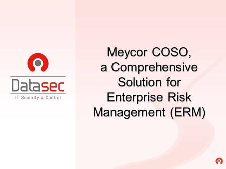 COSO I COSO II. Meycor COSO, a Comprehensive Solution for Enterprise Risk Management (ERM)