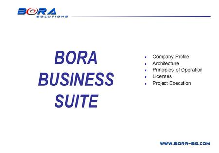 Company Profile Architecture Principles of Operation Licenses Project Execution BORA Business Systems BORA BUSINESS SUITE.