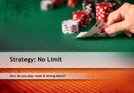 How do you play weak & strong draws? Strategy: No Limit.