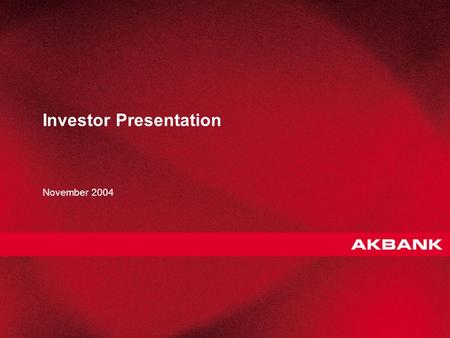 1 Investor Presentation November 2004. 2 Strategy 3 Products 5 Profitability Improvements 15 Annex 21 Agenda.