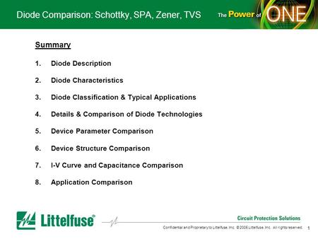 1 Confidential and Proprietary to Littelfuse, Inc. © 2005 Littelfuse, Inc. All rights reserved. Diode Comparison: Schottky, SPA, Zener, TVS Summary 1.Diode.