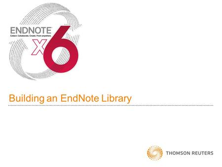 Building an EndNote Library. EndNote Fundamentals EndNote is a reference organizer Build a library of references Cite references and generate bibliographies.