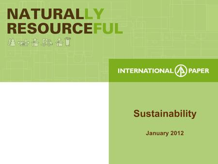 Sustainability January 2012. Sustainability- What is it? To International Paper this means... 1.Managing Natural Resources 2.Reducing Environmental Footprint.