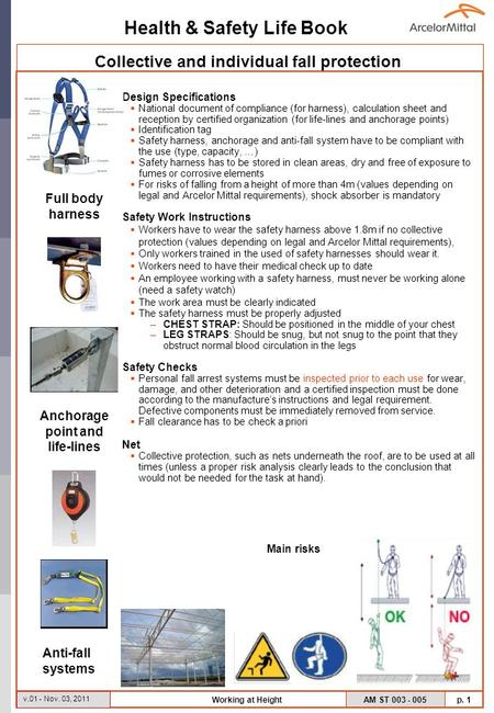 Health & Safety Life Book AM ST 003 - 005 p. 1 v.01 - Nov. 03, 2011 Working at Height Design Specifications National document of compliance (for harness),
