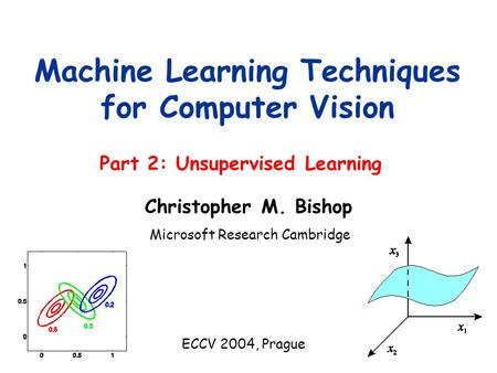 Part 2: Unsupervised Learning Machine Learning Techniques for Computer Vision Microsoft Research Cambridge ECCV 2004, Prague Christopher M. Bishop.