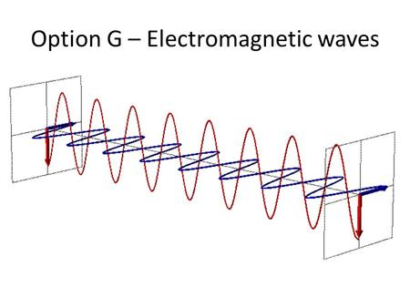 Option G – Electromagnetic waves. Lesson 1 Outline the nature of electromagnetic (EM) waves. Describe the different regions of the electromagnetic spectrum.