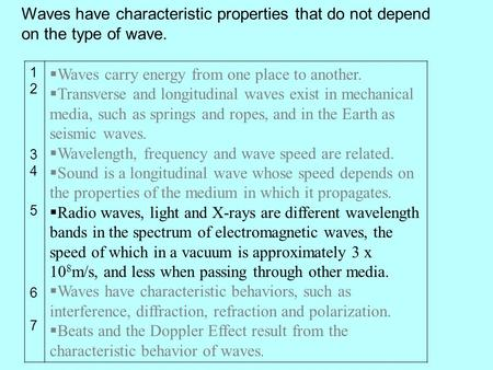 12345671234567 Waves carry energy from one place to another. Transverse and longitudinal waves exist in mechanical media, such as springs and ropes, and.