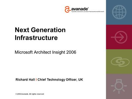 Next Generation Infrastructure Microsoft Architect Insight 2006 Richard Hall I Chief Technology Officer, UK © 2006 Avanade. All rights reserved.