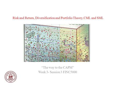 Risk and Return, Diversification and Portfolio Theory, CML and SML The way to the CAPM Week 3- Session 3 FINC5000.