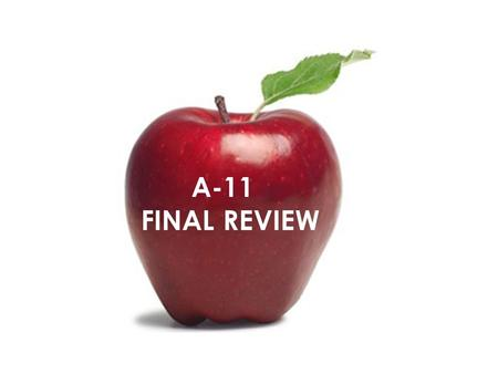 A-11 FINAL REVIEW.