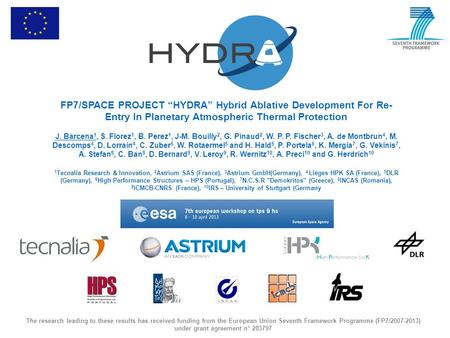 FP7/SPACE PROJECT HYDRA Hybrid Ablative Development For Re- Entry In Planetary Atmospheric Thermal Protection J. Barcena 1, S. Florez 1, B. Perez 1, J-M.