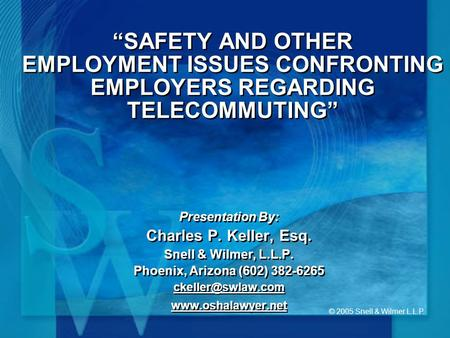 © 2005 Snell & Wilmer L.L.P. SAFETY AND OTHER EMPLOYMENT ISSUES CONFRONTING EMPLOYERS REGARDING TELECOMMUTING Presentation By: Charles P. Keller, Esq.