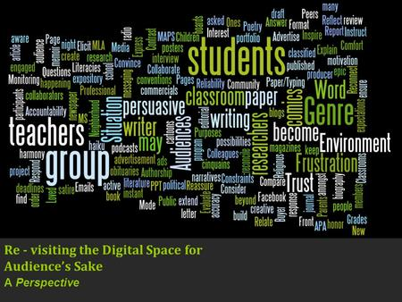 Re - visiting the Digital Space for Audiences Sake A Perspective.
