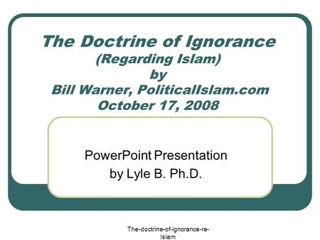 PowerPoint Presentation by Lyle B. Ph.D.