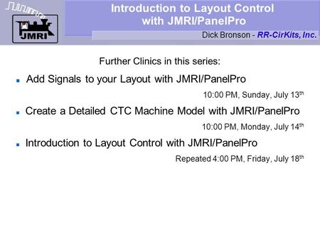 Introduction to Layout Control with JMRI/PanelPro