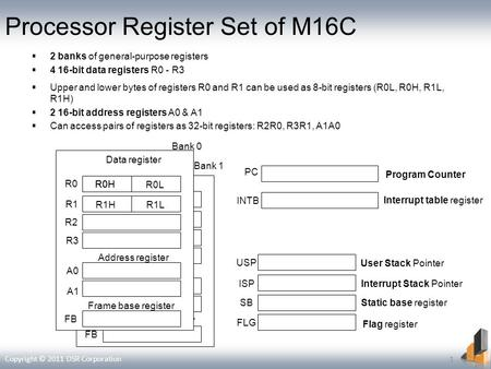 Processor Register Set of M16C 2 banks of general-purpose registers 4 16-bit data registers R0 - R3 Upper and lower bytes of registers R0 and R1 can be.