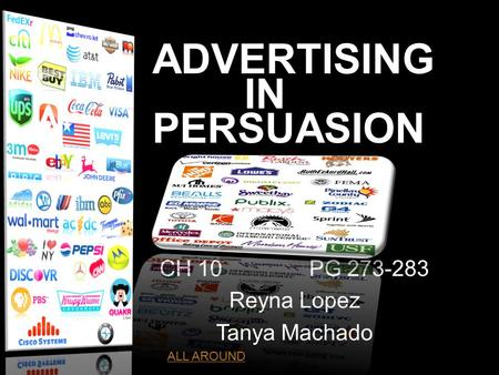 ADVERTISING IN PERSUASION CH 10PG 273-283 Reyna Lopez Tanya Machado ht ALL AROUND.