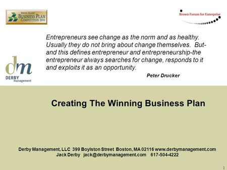 Creating <strong>The</strong> Winning Business Plan