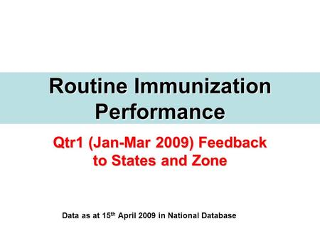 Qtr1 (Jan-Mar 2009) Feedback to States and Zone Routine Immunization Performance Data as at 15 th April 2009 in National Database.