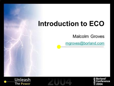 Introduction to ECO Malcolm Groves