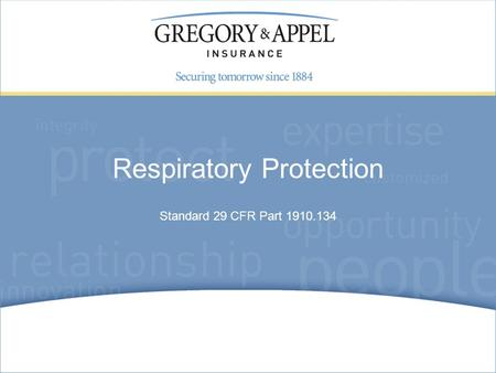 Standard 29 CFR Part 1910.134 Respiratory Protection.