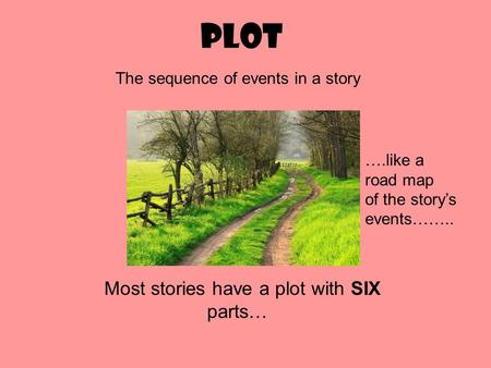 Plot Most stories have a plot with SIX parts… The sequence of events in a story ….like a road map of the storys events……..