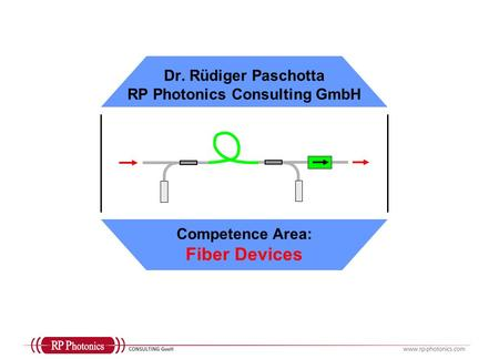 Dr. Rüdiger Paschotta RP Photonics Consulting GmbH Competence Area: Fiber Devices.
