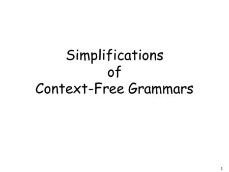 1 Simplifications of Context-Free Grammars. 2 A Substitution Rule Substitute Equivalent grammar.